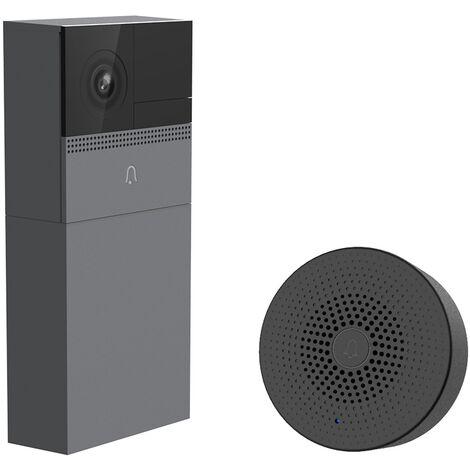 Laxihub - B1- Interphone video IP Wi-Fi full sans fil - Sur batterie - Détection de mouvement - Compatible Amazon Alexa - Gris