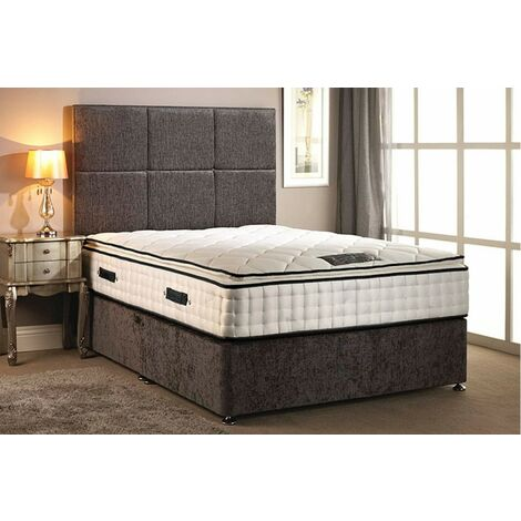 Layla Quilted Pillow Top Silver Divan bed With 2 Drawer Same Side And Headboard