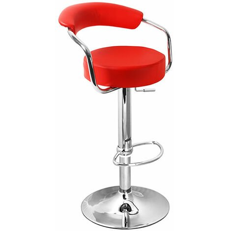 Lazio Adjustable Padded Kitchen Bar Stool Red Red