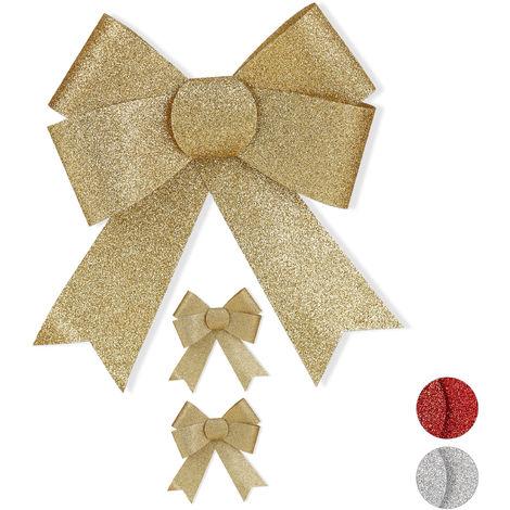 Lazos Regalo Grande con Purpurina, 3 Unidades, Decoración para Navidad o Cumpleaños, PVC, Dorado