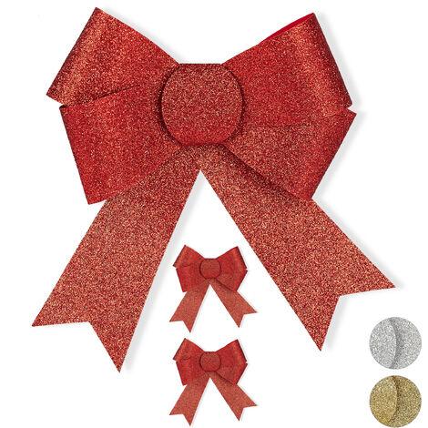 Lazos Regalo Grande con Purpurina, 3 Unidades, Decoración para Navidad o Cumpleaños, PVC, Rojo