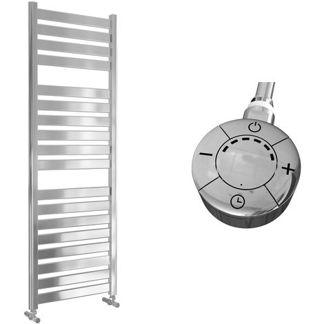 Lazzarini Capri Straight Chrome Designer Heated Towel Rail 1420mm x 500mm Electric Only - Thermostatic