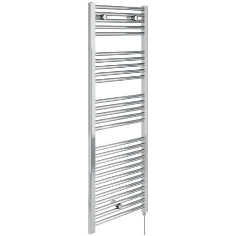 Lazzarini Cortina Electric Contract Carbon Steel Designer Towel Rail Chrome 720mm H x 400mm W