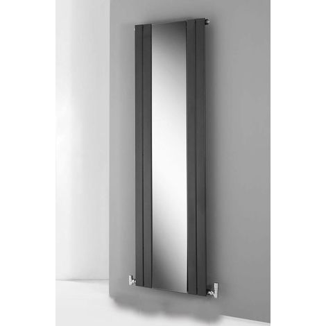 Lazzarini Empoli Anthracite Vertical Designer Radiator with Mirror 1800mm x 600mm