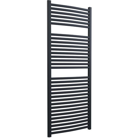 Lazzarini Roma Curved 25mm Anthracite Ladder Heated Towel Rail 1512mm x 600mm Central Heating