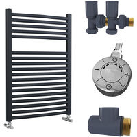 Lazzarini Roma Curved 25mm Anthracite Ladder Heated Towel Rail 842mm x 600mm Dual Fuel - Thermostatic