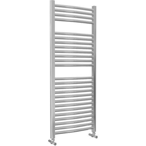 Lazzarini Roma Curved 25mm Chrome Ladder Heated Towel Rail 1230mm x 500mm Central Heating