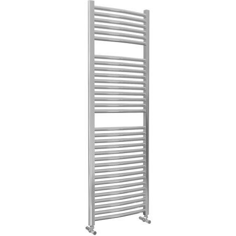 Lazzarini Roma Curved 25mm Chrome Ladder Heated Towel Rail 1512mm x 500mm Central Heating
