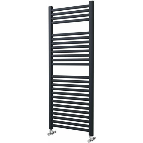 Lazzarini Roma Straight Carbon Steel Designer Heated Towel Rail Anthracite 1230mm x 500mm Electric Only - Thermostatic