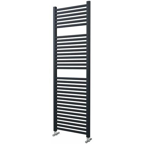 Lazzarini Roma Straight Carbon Steel Designer Heated Towel Rail Anthracite 1512mm x 500mm Electric Only - Standard