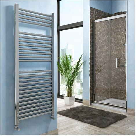 Lazzarini Roma Straight Carbon Steel Designer Heated Towel Rail Chrome 840mm x 400mm Dual Fuel - Thermostatic