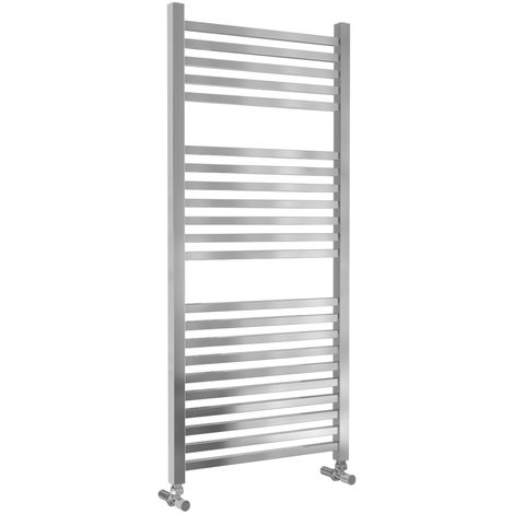 Lazzarini Todi Straight Chrome Designer Heated Towel Rail 1110mm x 500mm Central Heating