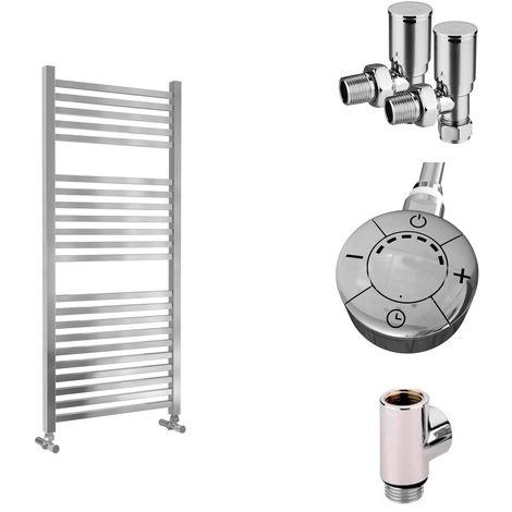 Lazzarini Todi Straight Chrome Designer Heated Towel Rail 1110mm x 500mm Dual Fuel - Thermostatic