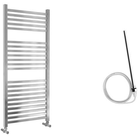 Lazzarini Todi Straight Chrome Designer Heated Towel Rail 1110mm x 500mm Electric Only - Non-Thermostatic