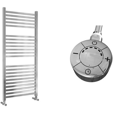 Lazzarini Todi Straight Chrome Designer Heated Towel Rail 1110mm x 500mm Electric Only - Thermostatic