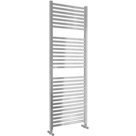 Lazzarini Todi Straight Chrome Designer Heated Towel Rail 1420mm x 500mm Central Heating