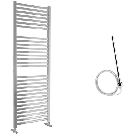 Lazzarini Todi Straight Chrome Designer Heated Towel Rail 1420mm x 500mm Electric Only - Non-Thermostatic