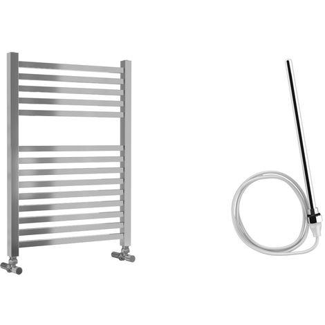 Lazzarini Todi Straight Chrome Designer Heated Towel Rail 690mm x 500mm Electric Only - Non-Thermostatic