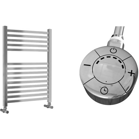 Lazzarini Todi Straight Chrome Designer Heated Towel Rail 690mm x 500mm Electric Only - Thermostatic