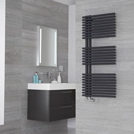 Lazzarini Way Bari Carbon Steel Designer Heated Towel Rail Anthracite 1120mm x 500mm