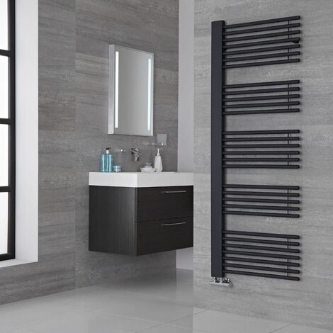 Lazzarini Way Grado Carbon Steel Designer Heated Towel Rail Anthracite 1600mm x 600mm