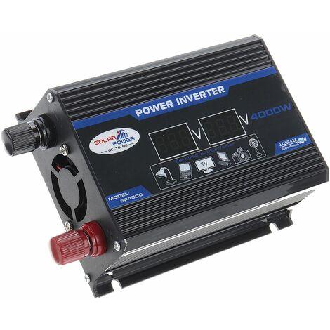 LCD 2 USB DC 12V 24V à AC 110V 220V Convertisseur d'inverseurs d'énergie solaire de voiture (noir, 500W 12-220V)
