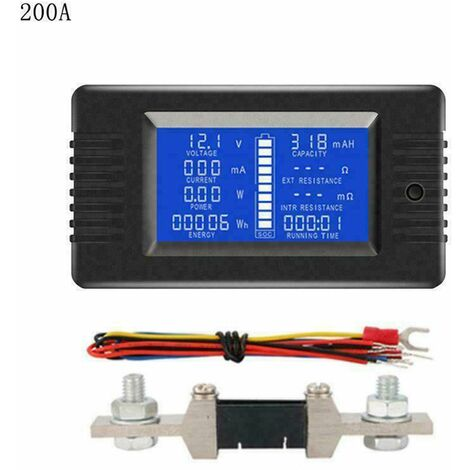 LCD Display Battery Monitor DC Meter 200V Volt Amp For Car Vehicle Solar System (200A)