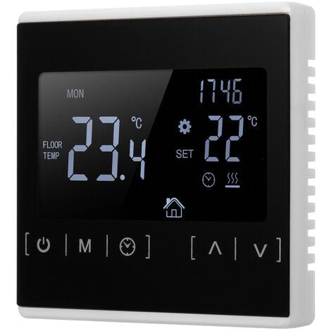 Lcd Multifonction Touche Ecran Intelligent Thermostat Electrique Chauffage Au Sol Thermostat Accueil Controleur De Temperature, Blanc