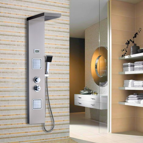 LCD Shower Tower Bathroom Shower Panel System Water Tower Stainless Shower Panel Multifunctional Water Outlets with Handheld Shower Head