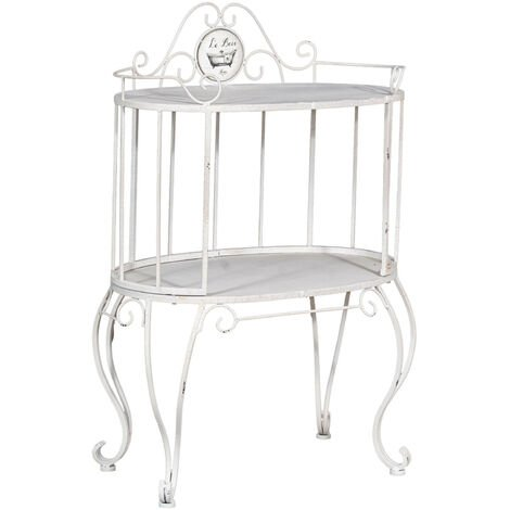 """Le Bain"""" wrought iron coffee table with two tops in Shabby finish L 64 x PR 41 x H 91 cm"""