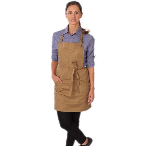 Le Chef Utility Bib Apron (One Size) (Khaki)