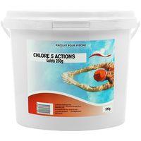 Le CHLORE 5 ACTIONS GALETS 250G - Swimmer - Plusieurs modèles disponibles