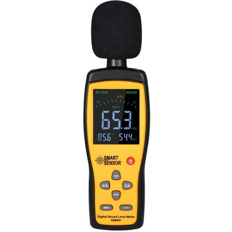 Le compteur de decibels du compteur de bruit SMART SENSOR AS844 + peut etre connecte a un ordinateur, plage de mesure de 30 ~ 130 db