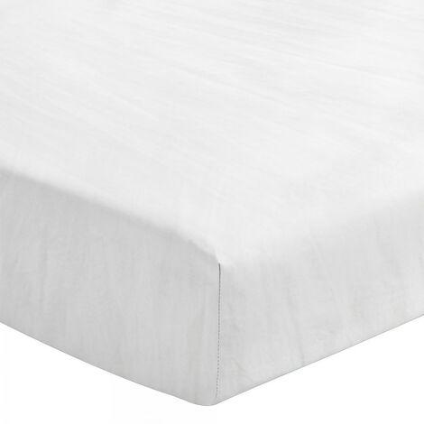 Le Drap Housse extensible - 2 Personnes 140x190 - 100% Lin lavé 165g Fibres épaisses - Matelas épais Bonnet 30cm - Blanc