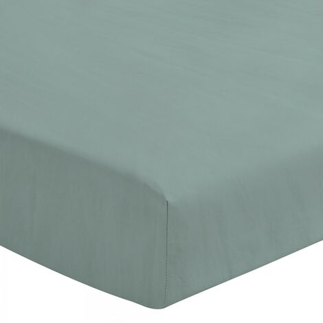 Le Drap Housse extensible - 2 Personnes 140x190 - 100% Lin lavé 165g Fibres épaisses - Matelas épais Bonnet 30cm - Bleu Céladon