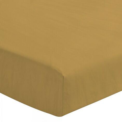 Le Drap Housse extensible - 2 Personnes 140x190 - 100% Lin lavé 165g Fibres épaisses - Matelas épais Bonnet 30cm - Jaune Curry
