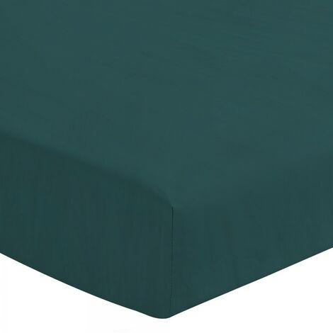 Le Drap Housse extensible - 2 Personnes 140x190 - 100% Lin lavé 165g Fibres épaisses - Matelas épais Bonnet 30cm - Vert Sapin