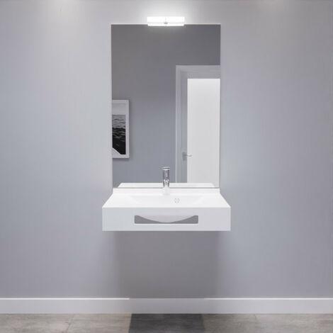 LEA 70 cm avec plan vasque, miroir - blanc brillant