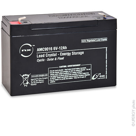 Lead Crystal - Batterie lead crystal 3-CNFJ-12 6V 12Ah F6.35