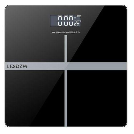 "LEADZM 180Kg/50g 11"" Personal Weighing Bathroom Scale Black&Silver"