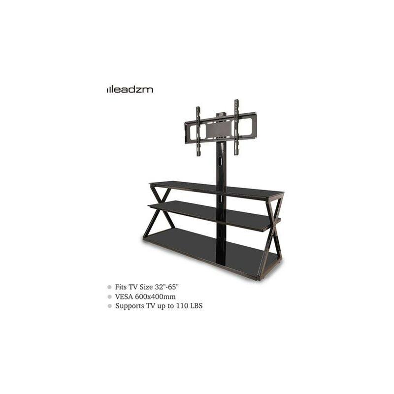 TSG001 32-65' Corner Floor TV Stand with Swivel Bracket 3-Tier Tempered Glass Shelves - Leadzm