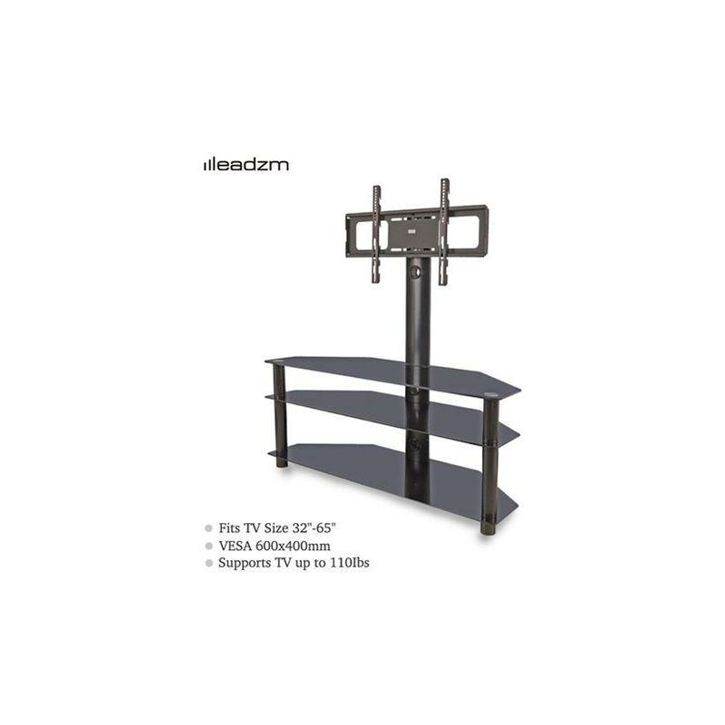 TSG002 32-65' Corner Floor TV Stand with Swivel Bracket 3-Tier Tempered Glass Shelves - Leadzm