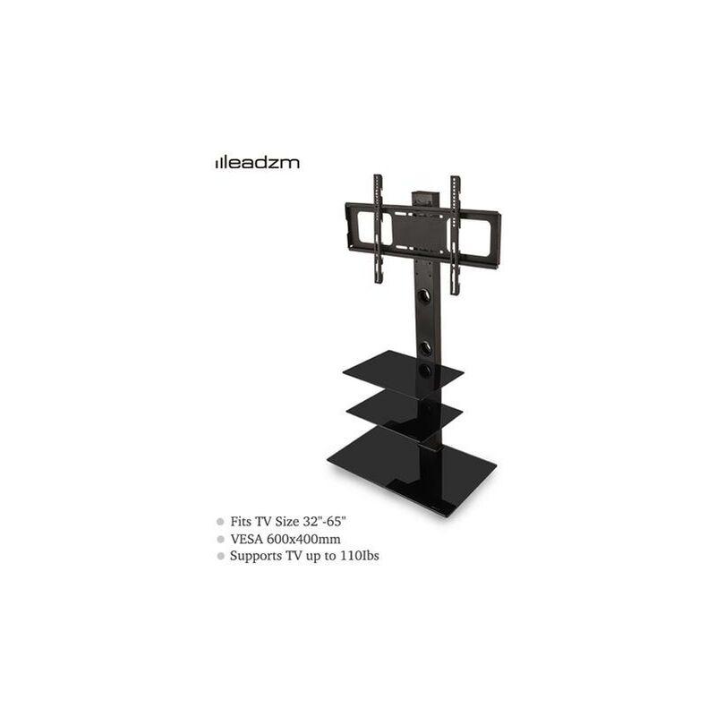 Leadzm TSG003 32-65' Corner Floor TV Stand with Swivel Bracket 3-Tier Tempered Glass Shelves