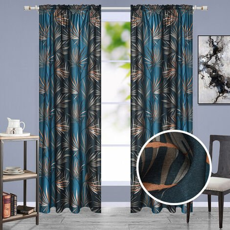 "main image of ""Leaf print blackout cloth curtain, 120 * 240CM - one piece"""