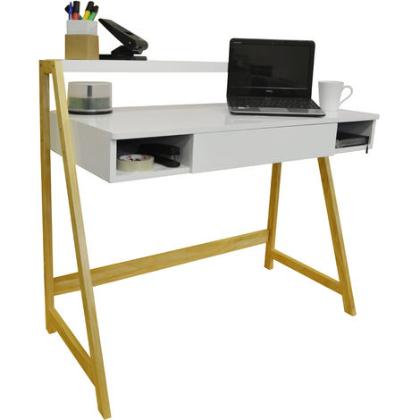 LEAN - Retro Office Desk / Computer Workstation / Dressing Table - Pine / White