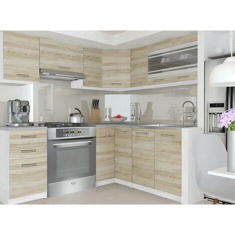"""main image of """"LEANA - Cuisine Complète d'angle L 360 cm 9 pcs - Plan de travail INCLUS - Ensemble armoires cuisine - Sonoma"""""""