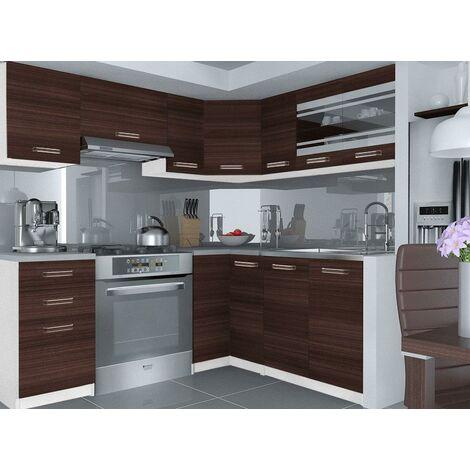 LEANA   Cuisine Complète d'angle + Modulaire L 360 cm 9 pcs   Plan de travail INCLUS   Ensemble armoires meubles de cuisine   Châtaigne