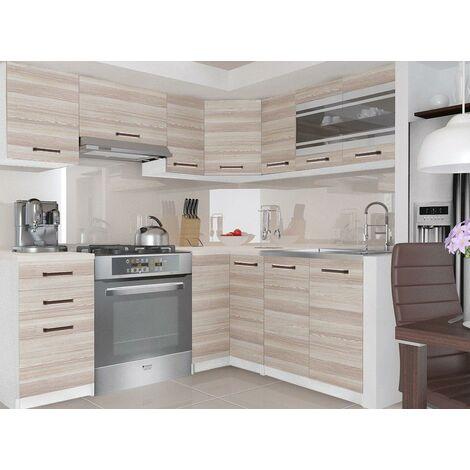 LEANA | Cuisine Complète d'angle + Modulaire L 360 cm 9 pcs | Plan de travail INCLUS | Ensemble armoires modernes cuisine | Acacia - Acacia