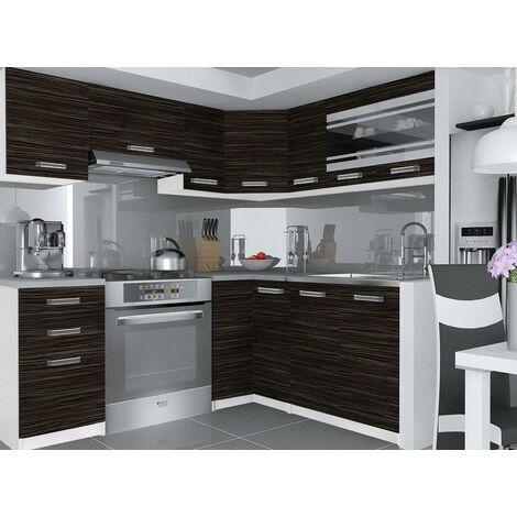 LEANA   Cuisine Complète d'angle + Modulaire L 360cm 9 pcs   Plan de travail INCLUS   Ensemble armoires meubles de cuisine   Ébène