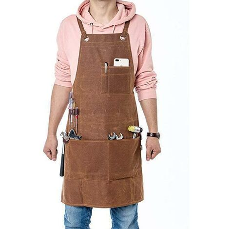 Leather Carpentry Apron, Heavy Duty Work Apron with 6 Tool Pockets Welding Apron for Men Women Heat Resistant Flame Retardant Workshop Equipment, Adjustable from M to XXL (61cm x 91cm)